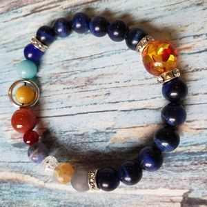 Natural Stone Solar System Stretch Bracelet